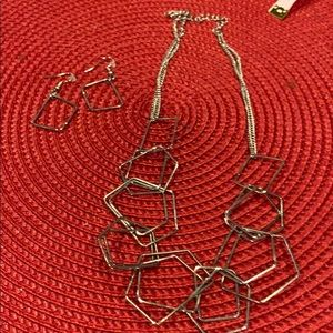 Silver squares necklace and earrings